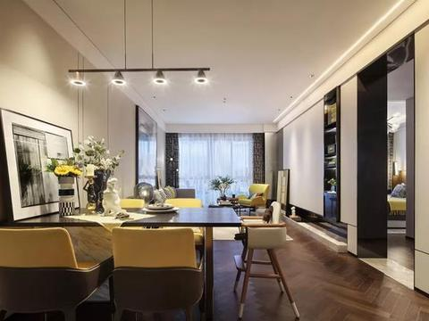 108平三室样板间,实用的储物柜电视墙,超棒软装,轻奢感十足