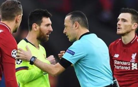 官方:恰基尔吹罚巴萨vs那不勒斯,曾执法巴萨0-4利物浦
