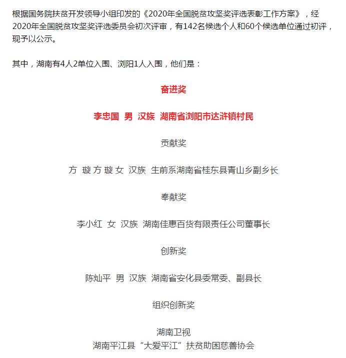 长沙市市级非遗代表性传承人李忠国入围2020年全国脱贫攻坚奖