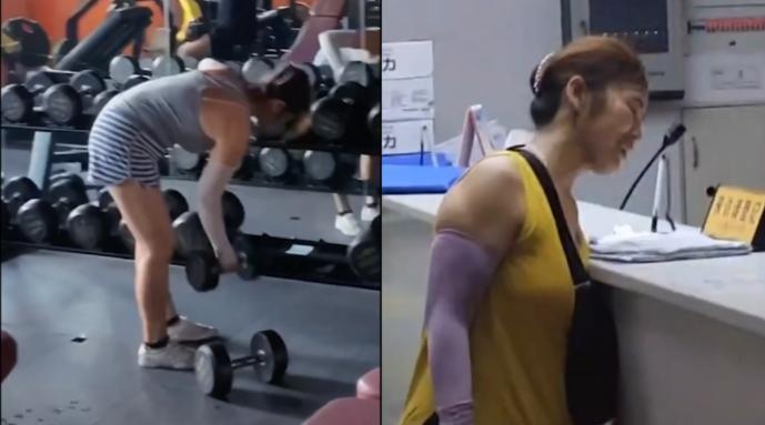 健身房保洁大妈麒麟臂走红,教练:未刻意练,会收拾整理健身器械