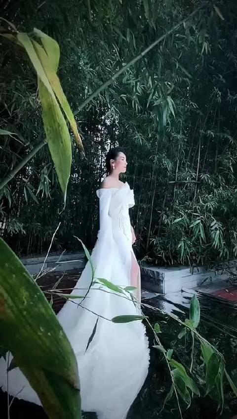 涛姐这白色礼服非常的优雅,非常的端庄大气,显得特有气质……