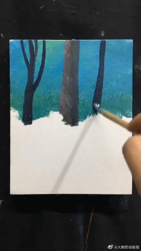 画一幅唯美的油画,回想儿时放羊的小树林,如今不再有了
