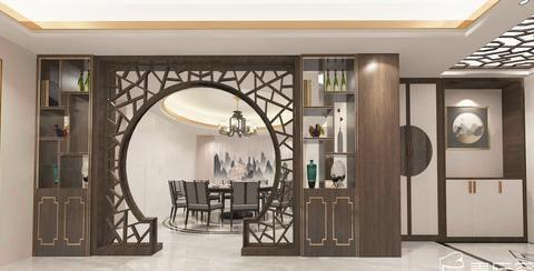 现代中式风格的大户型,装修设计超奢华大气,入户就被迷住了