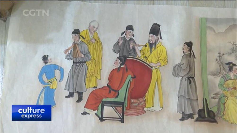 民间版画艺人巧手绘《韩熙载夜宴图》