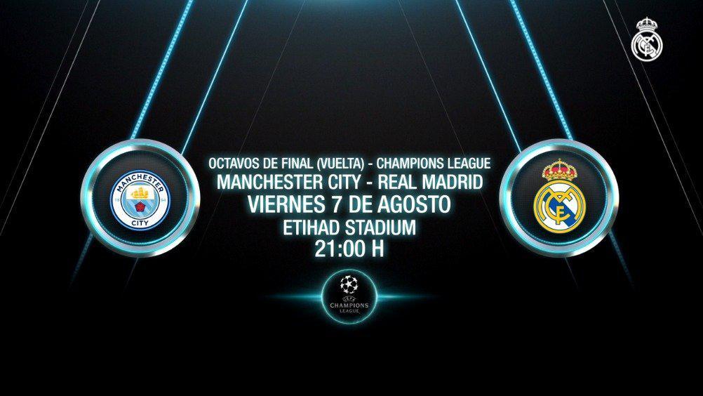 比赛前瞻 欧冠1/8决赛次回合 曼城VS皇家马德里