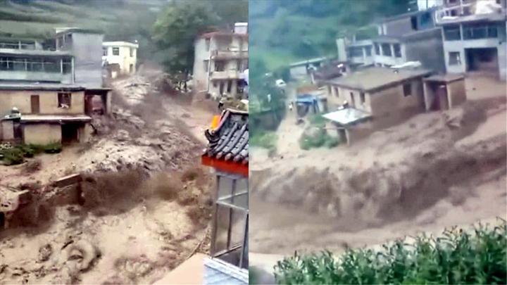 滚滚洪流贯穿村庄!甘肃暴雨导致山洪暴发 村民拍下家乡受灾情况