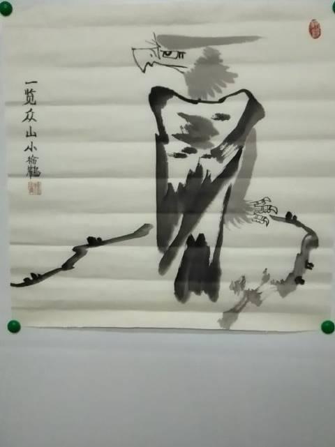 当代国画家徐鹤原创中国画大写意鹰作品《一览众山小》