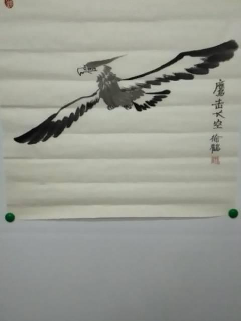 当代国画家徐鹤原创中国画大写意鹰作品《鹰击长空》