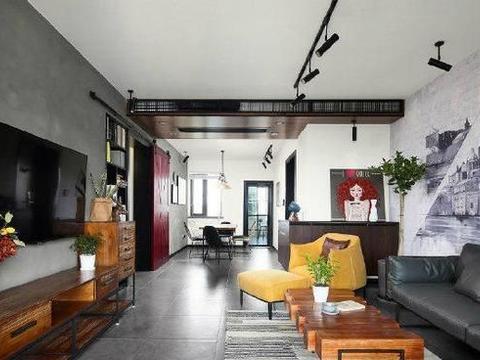 现代风融入工业风的新房,电视背景墙采用水泥装饰,实用又环保