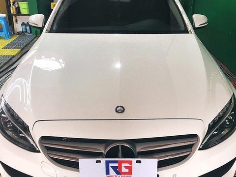 奔驰C200L车是是改色电光樱花粉 RG瑞集改色膜宁波江北店出品