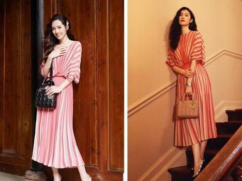 郭碧婷与何穗,同穿粉色条纹裙,网友:平模与超模的差别立显