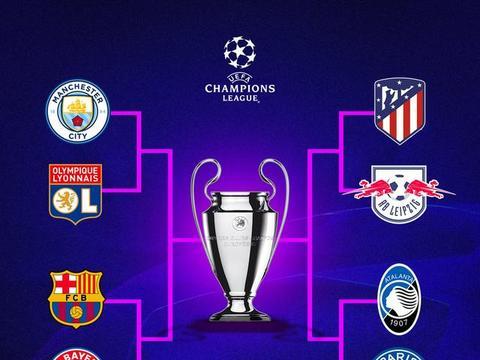8强确认后欧冠冠军赔率榜:曼城居首,拜仁巴黎巴萨2-4位