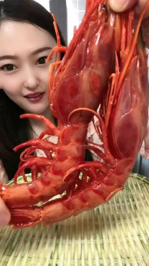 海鲜吃播 红魔虾