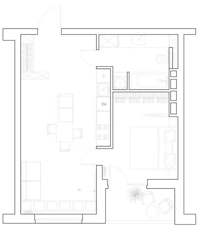 45㎡未来感公寓,超小户型显大配色