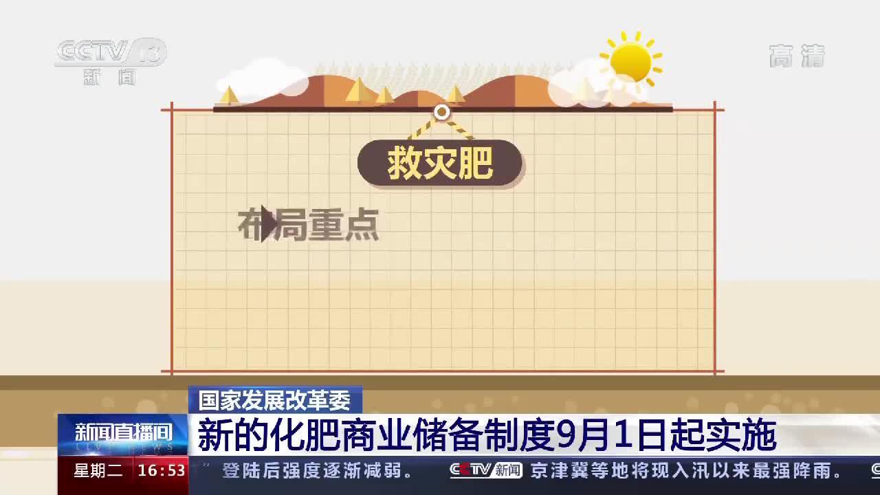 国家发展改革委:新的化肥商业储备制度9月1日起实施