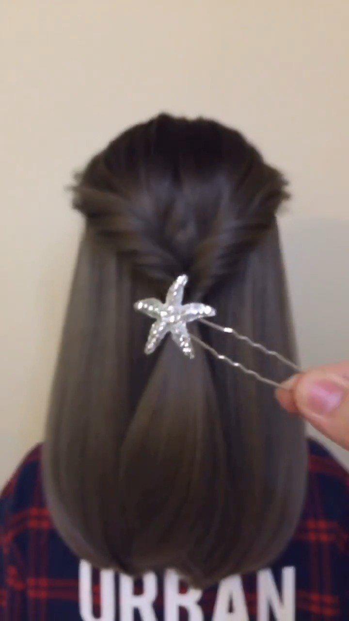 喜欢披着头发的可以这样扎,不会那么单调又好看!
