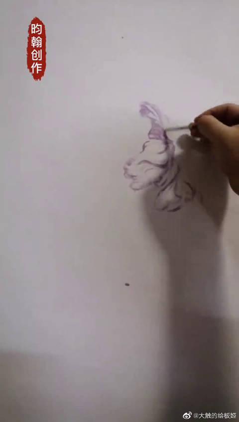 油画郁金香手绘,先画素描稿,要求造型准确和姿态生动