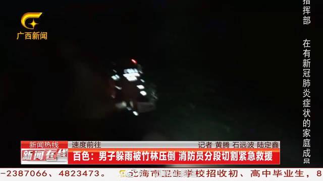 百色男子躲雨被竹林压倒 消防员分段切割紧急救援