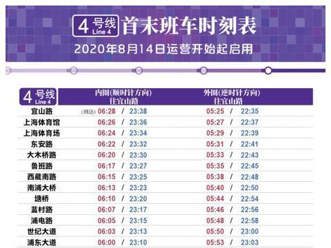上海轨交3、4号线周五起启用新运行图,附新版时刻表