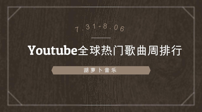 原创制作,2020年第32周Youtube全球热门歌曲周排行出炉!