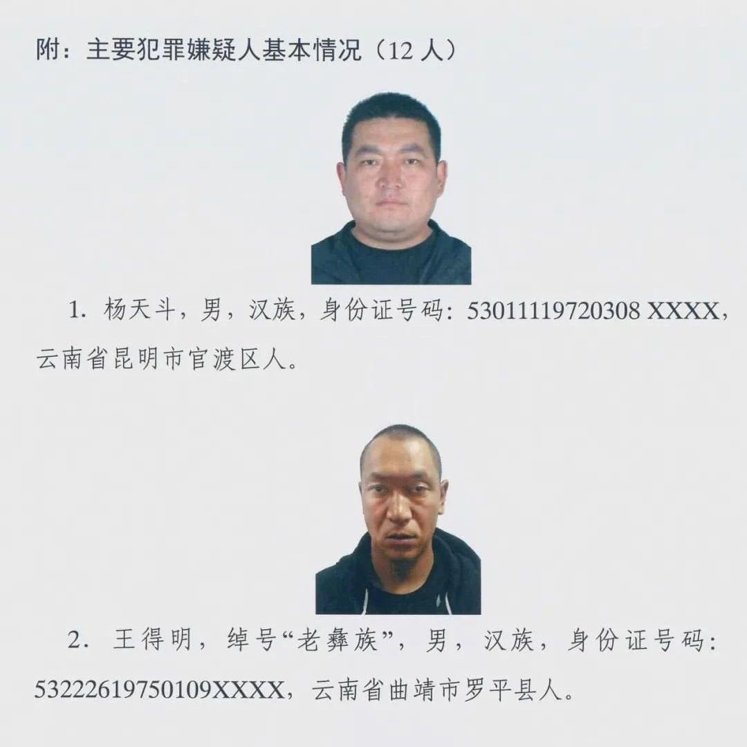 昆明市公安局关于公开征集杨天斗等人违法犯罪线索的通告