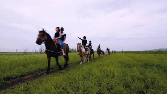 骑上骏马和心爱的人一起奔驰在呼伦贝尔大草原