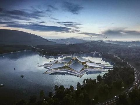 成都天府会议中心方案设计,犹如一座漂浮的岛屿