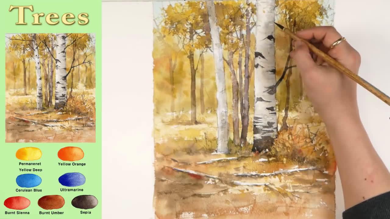 秋天的树木 水彩