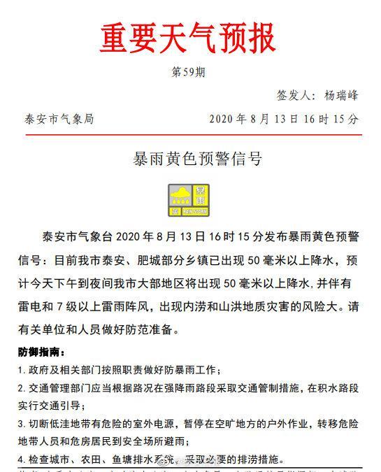 泰安市气象台 2020 年8月13日16时 15 分发布暴雨黄色预警信号