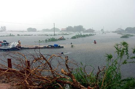 四川乐山有人在洪水中游泳