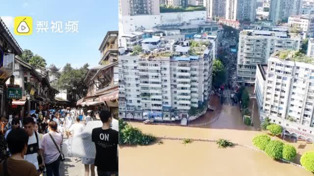 航拍长江4号洪水过境重庆,2000多人连夜帮商户抢出物资