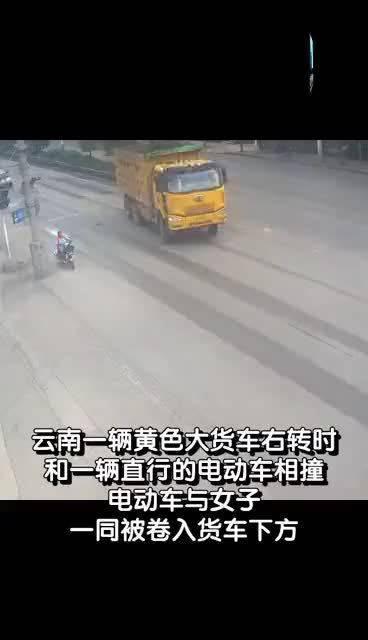万幸!电动车遇到横冲直撞的大货车