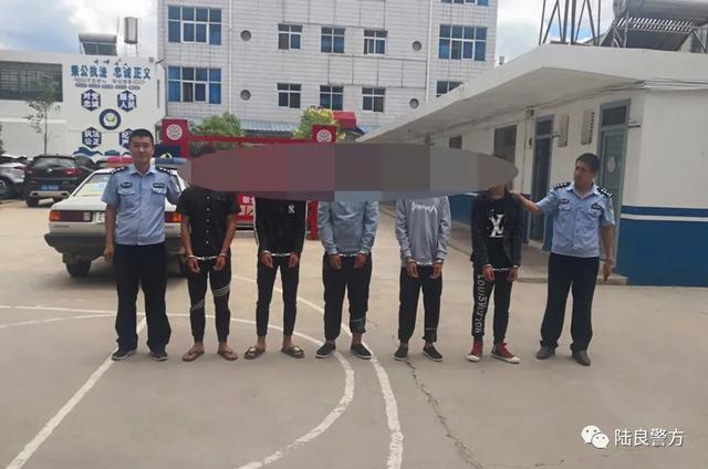陆良五名男子被捕并抢劫