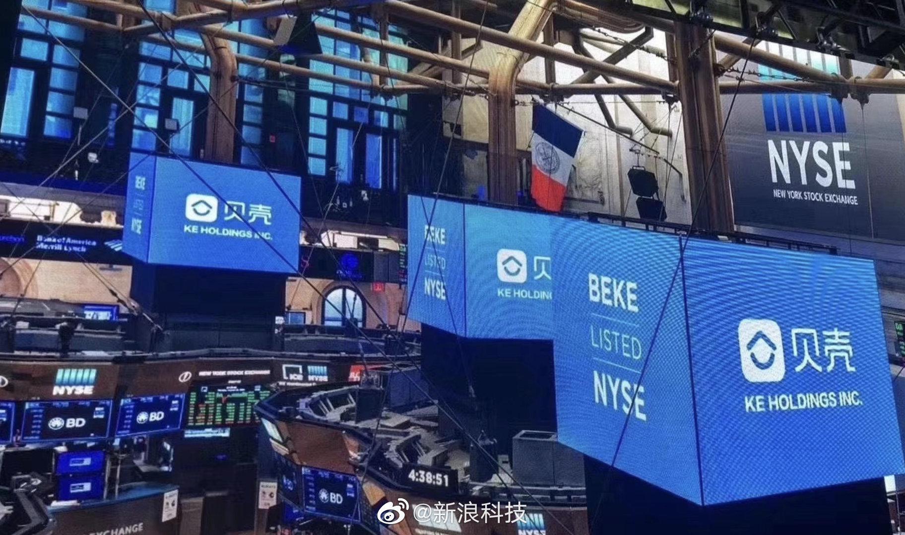 贝壳找房上市首日:股价大涨87.2% 市值达422亿美元