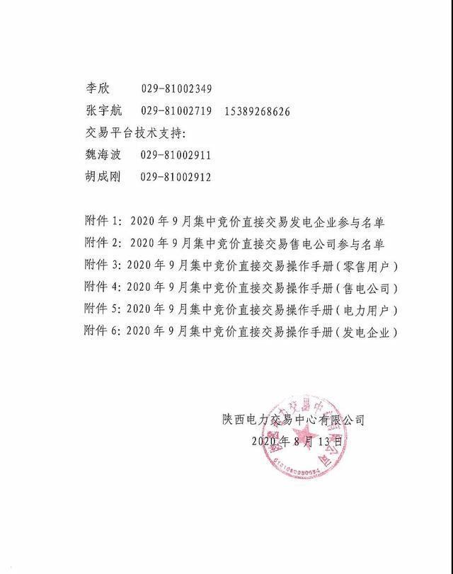 2020年9月陕西省集中竞价直接交易电量上限52亿千瓦时