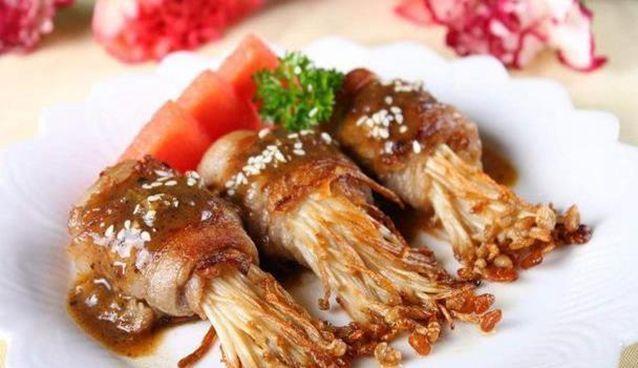 严选美食:肥牛金针菇卷,肉丝炒蒜苗,温拌海螺肉,酸菜炒蚕豆