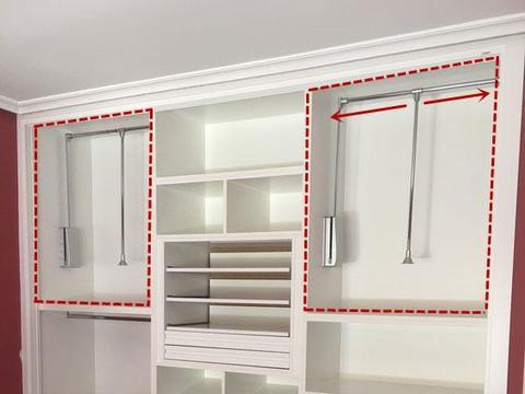 衣柜装个手持式升降杆,再高的柜子都能挂衣服,触手可得太实用!
