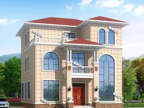 两栋宽12米的欧式别墅,配落地窗设计,好看采光佳