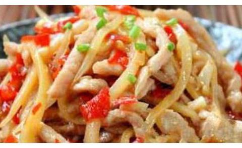 炮姜鱼香肉丝,黄金蛋炒饭,酸辣白菜干,凉拌猪耳朵的做法