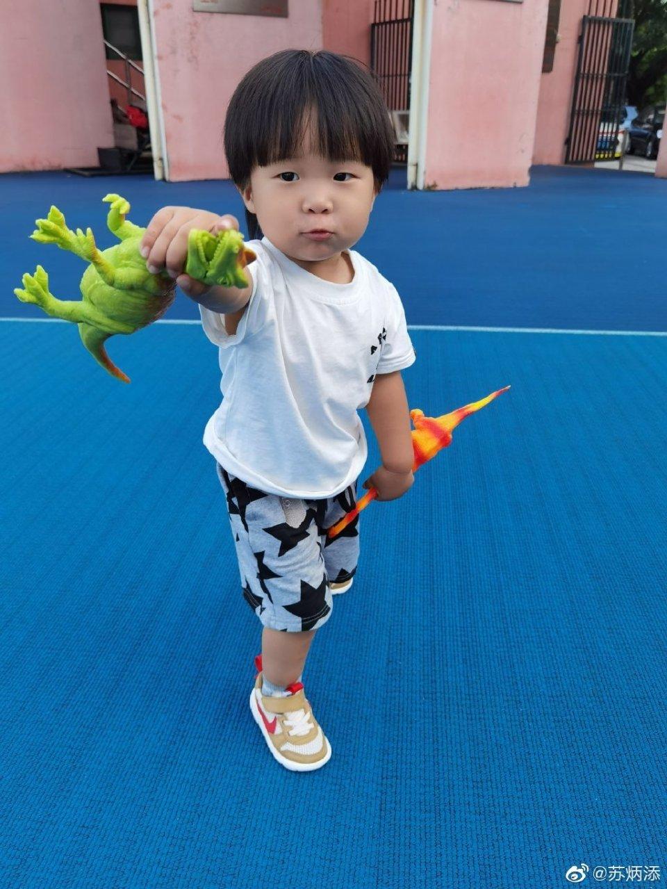 苏炳添2岁儿子呆萌可爱!模仿恐龙奶凶奶凶,妈妈一个表情回应