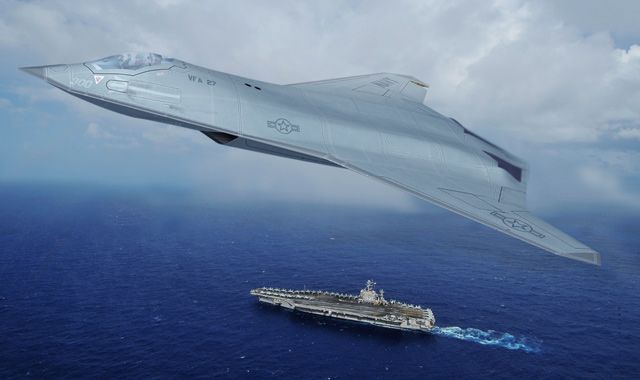 """诺斯罗普格鲁曼""""FA-XX""""的概念模型,但除了航程以外,这架飞机的一切特点都是""""概念"""",并不代表海军未来的发展方向 图源:诺斯罗普格鲁曼"""