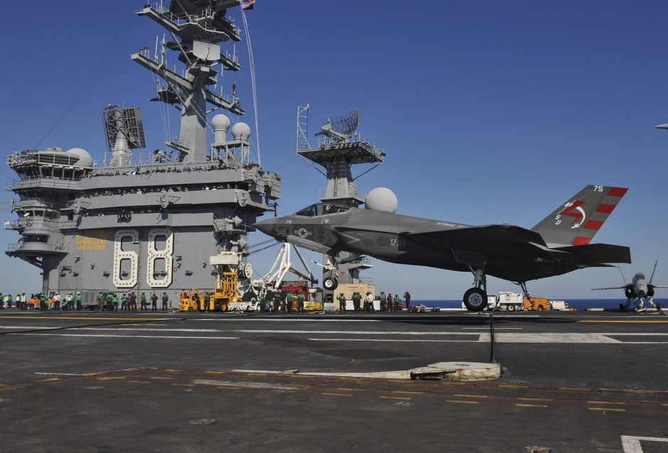 F-35C的作战半径很远,但对手的反舰导弹更远 图源:美国海军