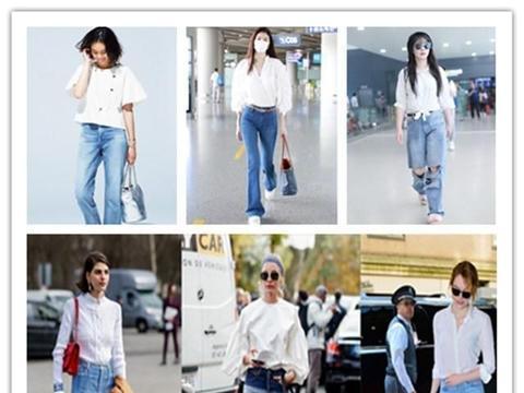 又到穿牛仔裤季节,靛蓝牛仔加白衬衫,还是不过时的高级
