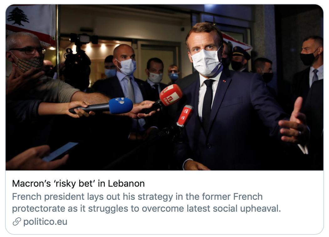 大爆炸后黎巴嫩刚任命新总理,马克龙二访贝鲁特
