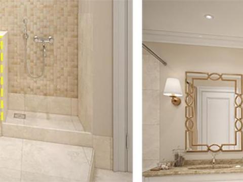 卫生间淋浴旁砌隔断,内塞洗衣机上装晾衣绳,多个洗衣房人见人夸