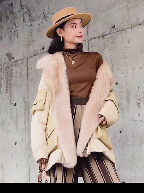 冬季新款欧洲时尚皮草羽绒服装|原创设计师女装穿搭