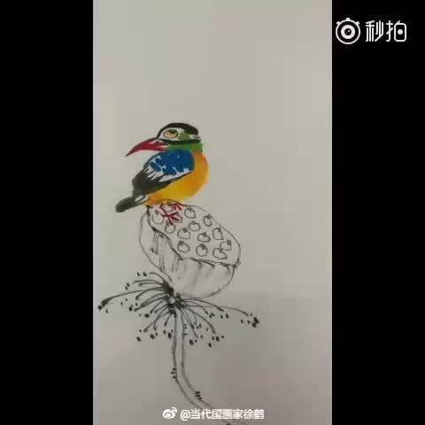 当代国画家徐鹤原创中国画大写意花鸟作品《天凉好个秋》