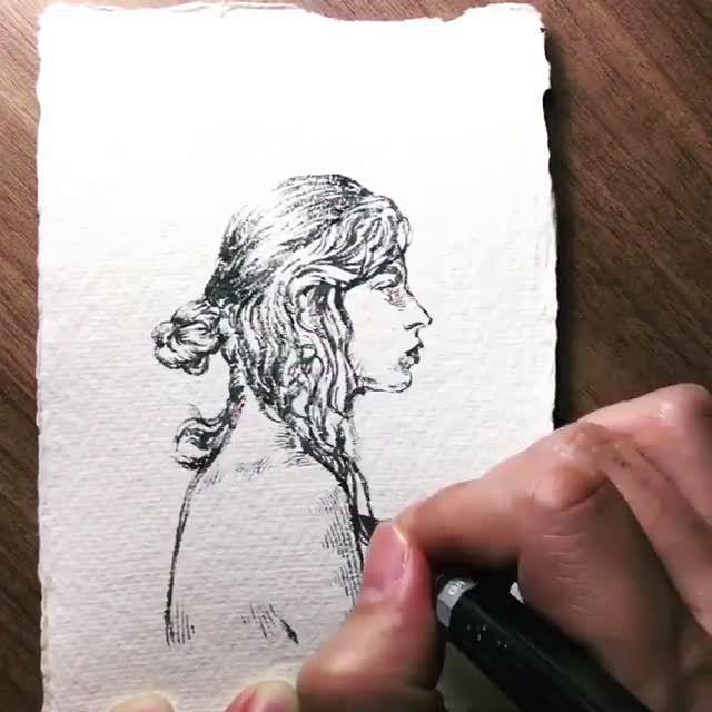 由五官到面颊逐步深入美术视频分享~ cr:素描人物插画师Sean Jun
