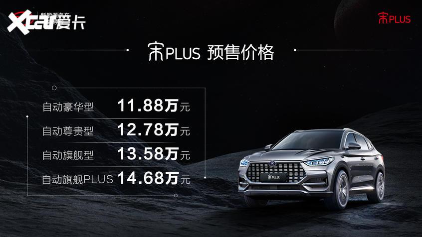 宋PLUS将于9月16日上市 预售11.88万起