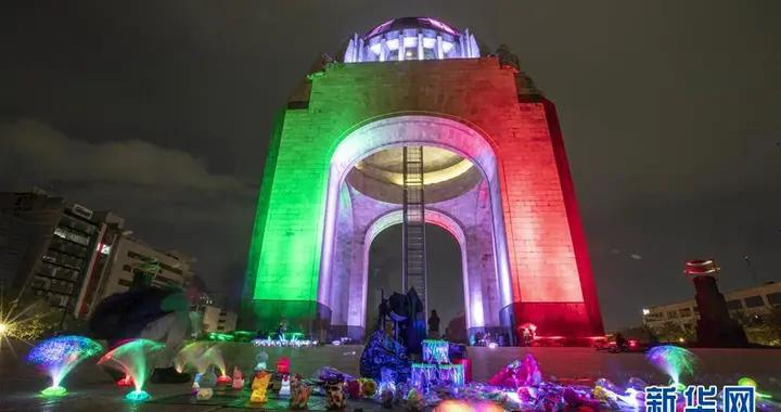 """墨西哥城点亮""""国旗色""""准备迎接独立纪念日"""